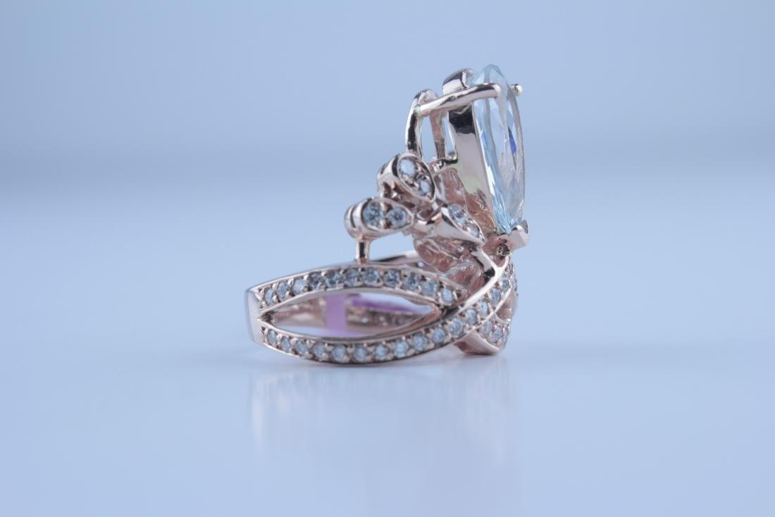 Aquamarine & Diamond Rose Gold Ring - 2