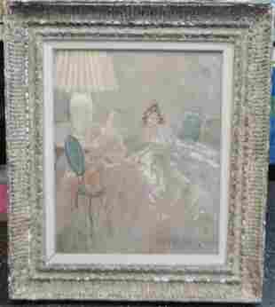 """Original Louis Icart """"Soir"""" Oil painting on board"""
