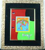 Peter Max Original Acrylic on Poster Signed and
