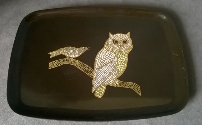 Couroc Tray With Owl