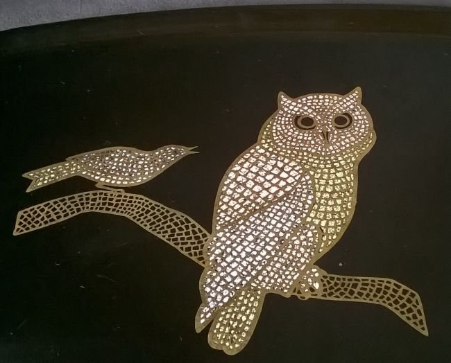 Couroc Tray With Owl - 2