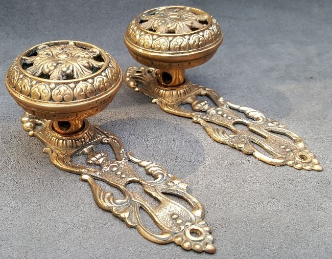 Pair of Reticulated Knobs and Plates - 5