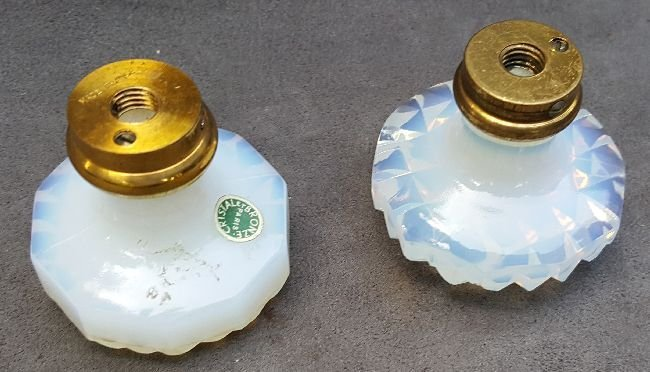 Two Opalescent Glass Knobs - 3