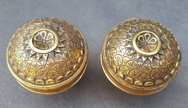 Pair of Dome Top Brocade Passage Knobs