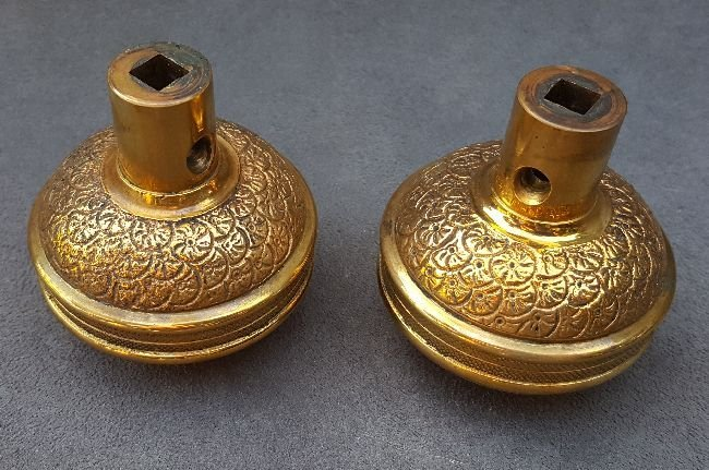 Pair of Dome Top Brocade Passage Knobs - 2
