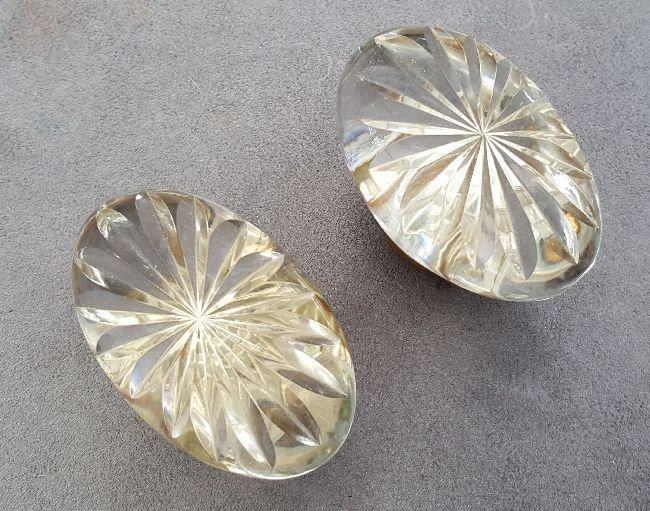 Two Cut Glass Oval Knobs