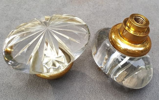 Two Cut Glass Oval Knobs - 4