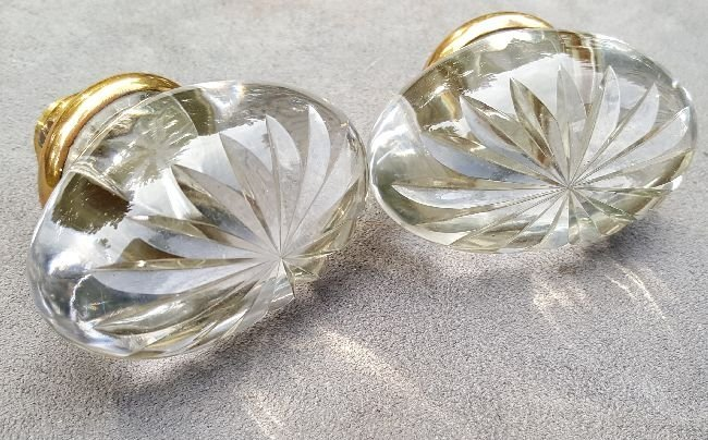 Two Cut Glass Oval Knobs - 5