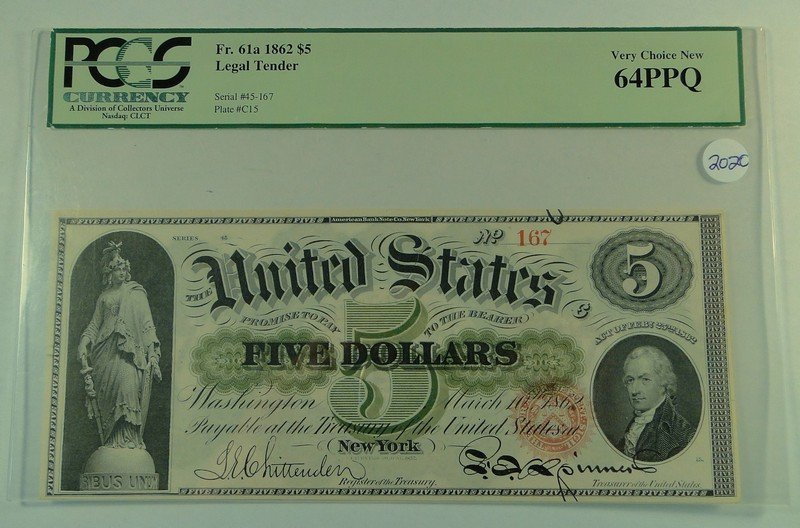 1862 $5 Legal Tender Note - FR. 61a.  PCGS Certified