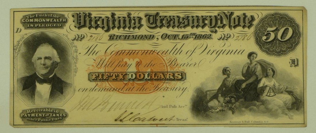 Obsolete Note: 1862 $50 Virginia Treasury Note - Richmo