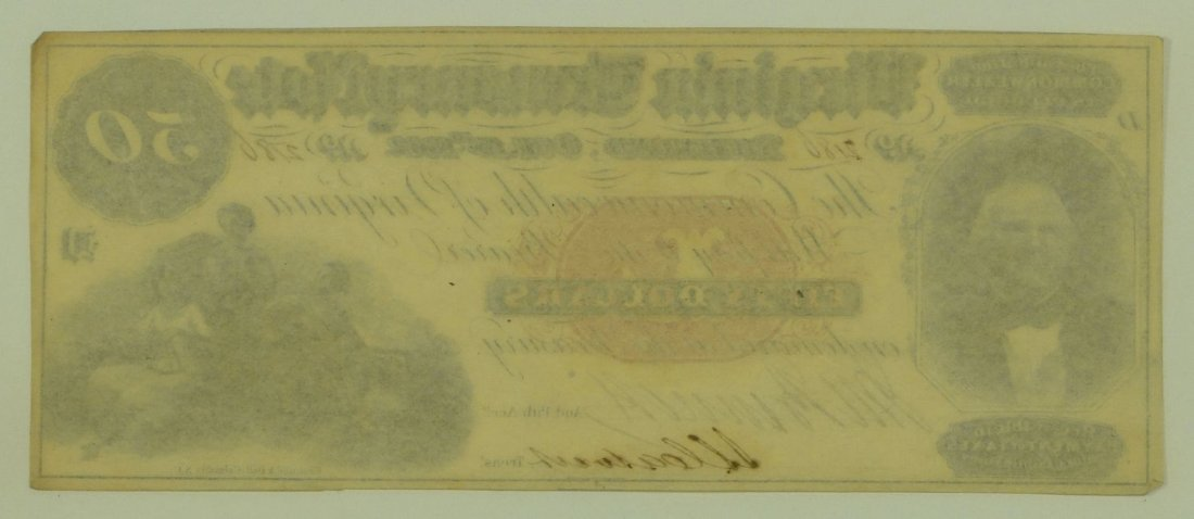 Obsolete Note: 1862 $50 Virginia Treasury Note - Richmo - 2