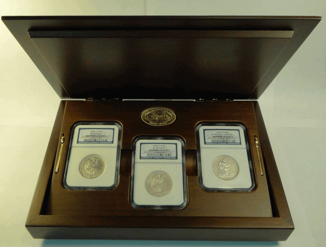 SS Republic 1853-1865 - 3pc. Shipwreck Coins - Seated L