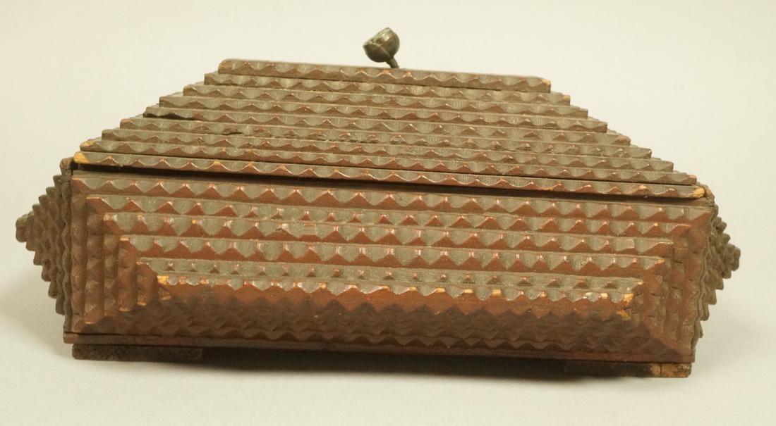 Antique Tramp Art Trinket Jewelry Box. Lidded Cas