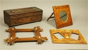 4pc Tramp Art. Rectangular Box. Two Picture Frame