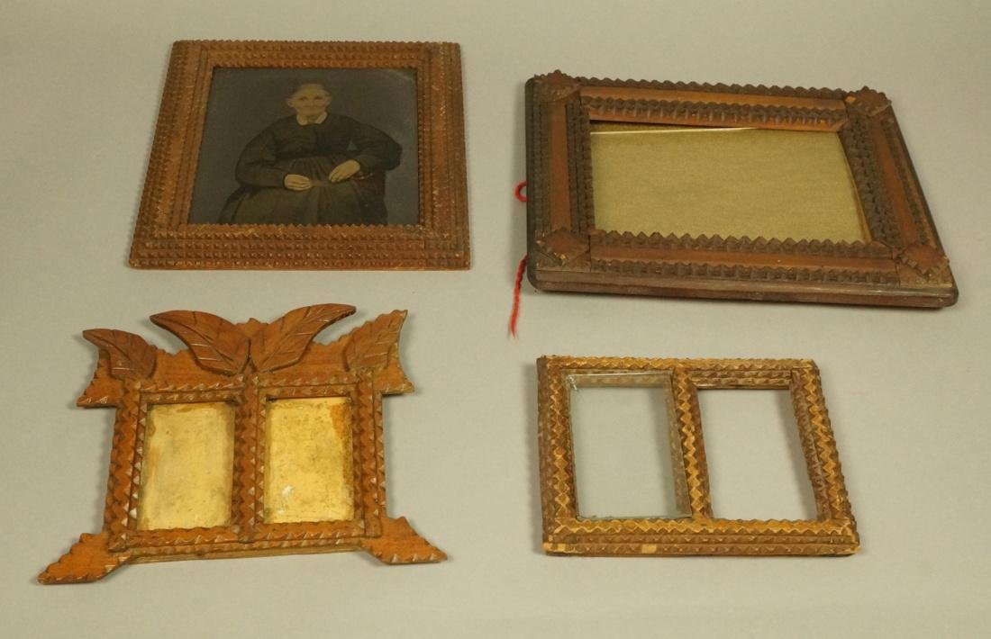 Lot 4pcs TRAMP ART Picture Frames. 1). Stepped de