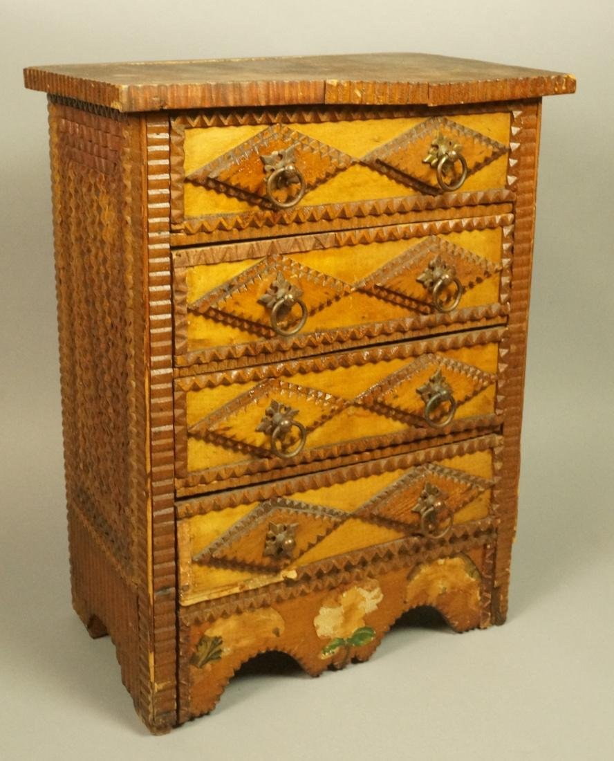 Large TRAMP ART Chest with four drawers. Tall Che