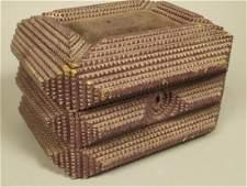 Lidded TRAMP ART Lidded Jewelry Box. Padded Fabri