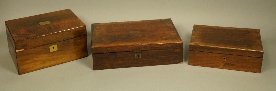 3 Antique Lidded Boxes. 1) Rosewood writing desk