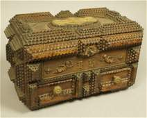 TRAMP ART Lidded Box Chest . Two lower drawers. S