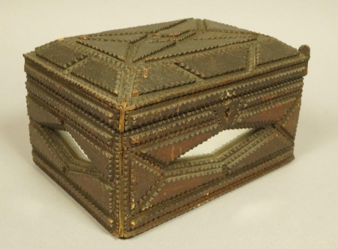 TRAMP ART Lidded Chest Box. Diamond shaped inset