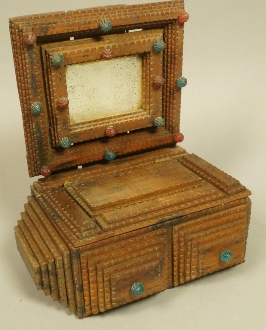 Antique TRAMP ART Mirrored Box Chest. Framed mirr