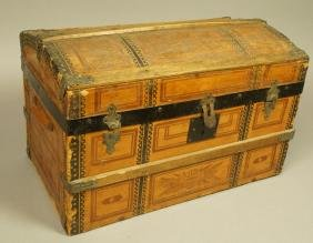 Antique  Domed Top Chest Trunk. Decorative paper