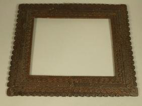 Dark Square Stepped Wood Tramp Art Picture Frame.