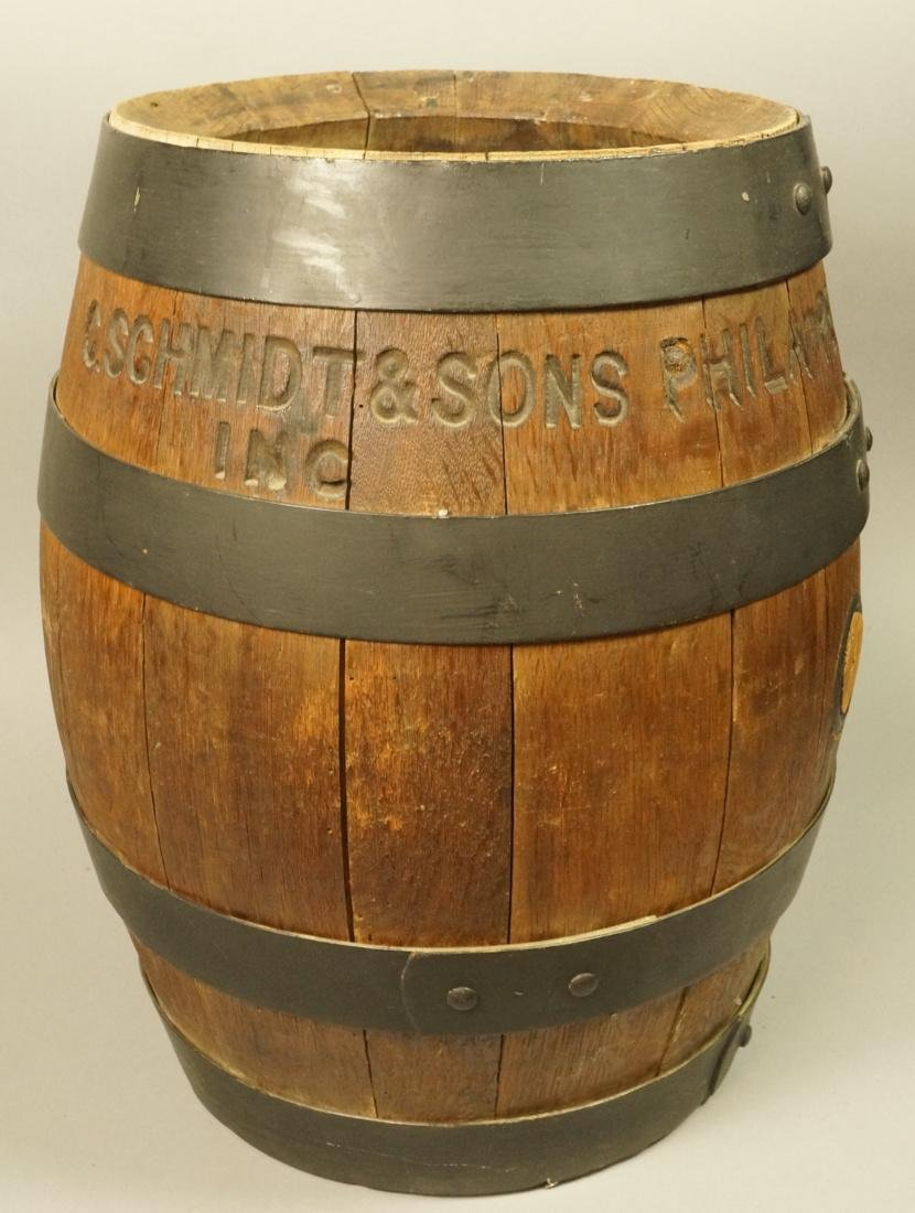 C. SCHMIDT & SONS Antique Keg Barrel. Metal strap