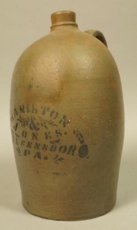 HAMILTON & JONES, Greensboro PA Pottery Jug. Anti