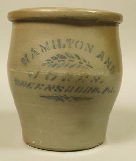 HAMILTON & JONES, Greensboro PA Pottery Crock. An