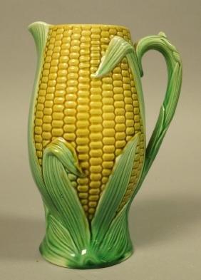 Majolica Corn Pitcher. Green & Yellow tin majolic