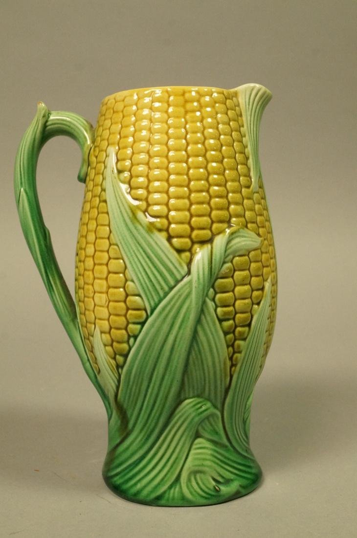 Majolica Corn Pitcher. Green & Yellow tin majolic - 2