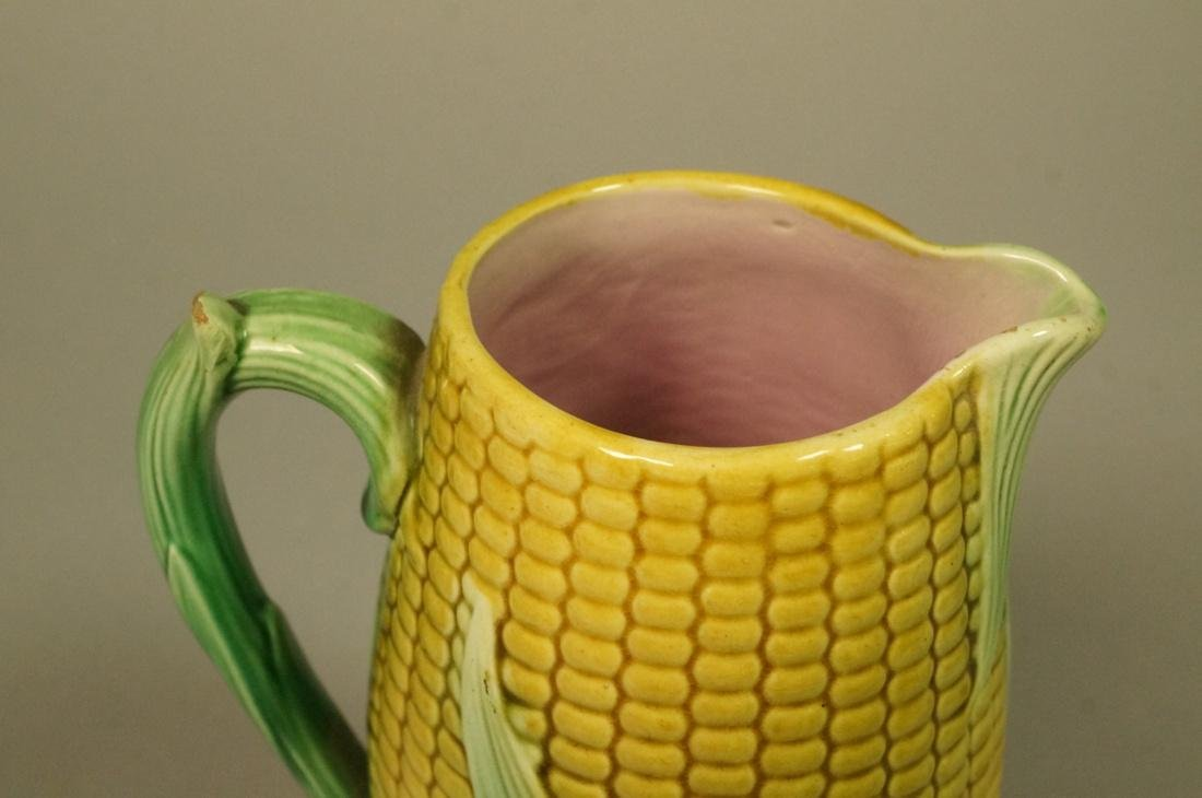 Majolica Corn Pitcher. Green & Yellow tin majolic - 3