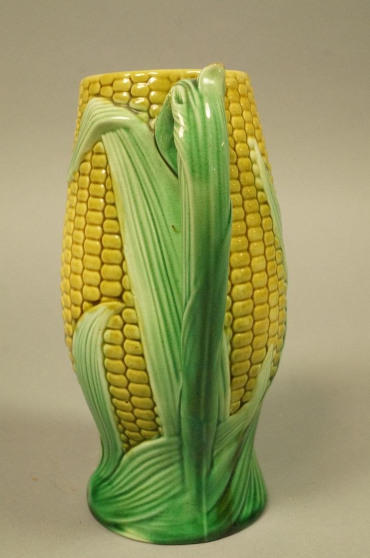 Majolica Corn Pitcher. Green & Yellow tin majolic - 5