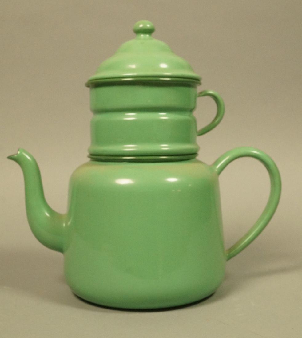 Vintage Green Enamel Ware Percolator Tea Pot. 5 p