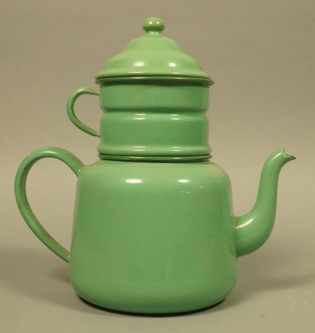 Vintage Green Enamel Ware Percolator Tea Pot. 5 p - 2