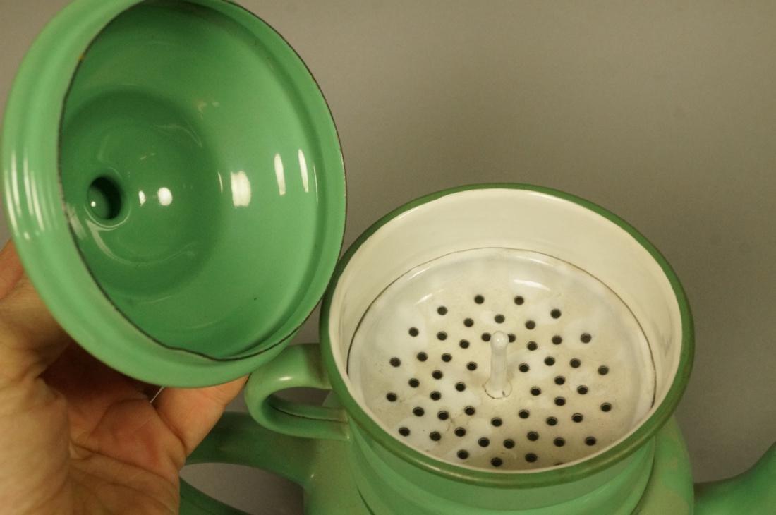 Vintage Green Enamel Ware Percolator Tea Pot. 5 p - 3