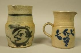 2pcs Stoneware Pitchers Pennsylvania. 1). D. ELDR