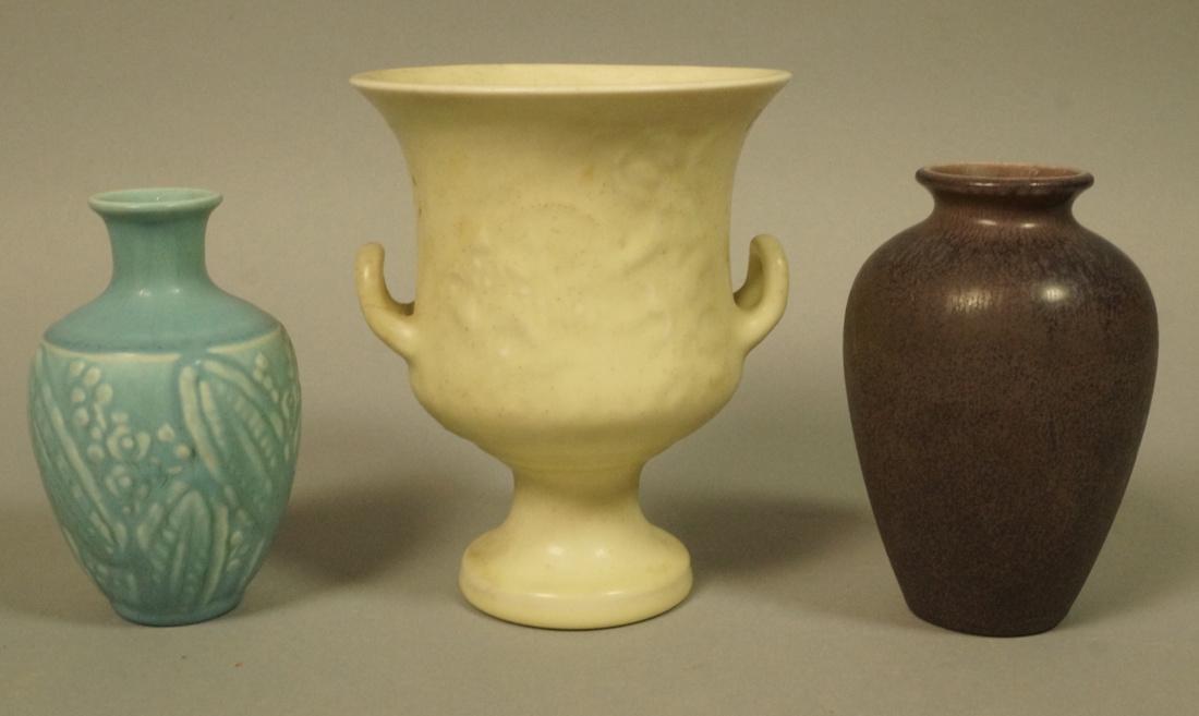3pcs ROOKWOOD Pottery Vases. 1). Small blue glaze