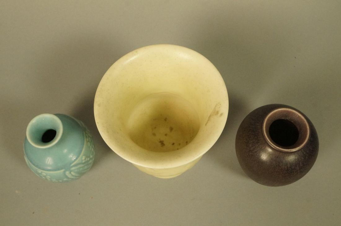 3pcs ROOKWOOD Pottery Vases. 1). Small blue glaze - 2