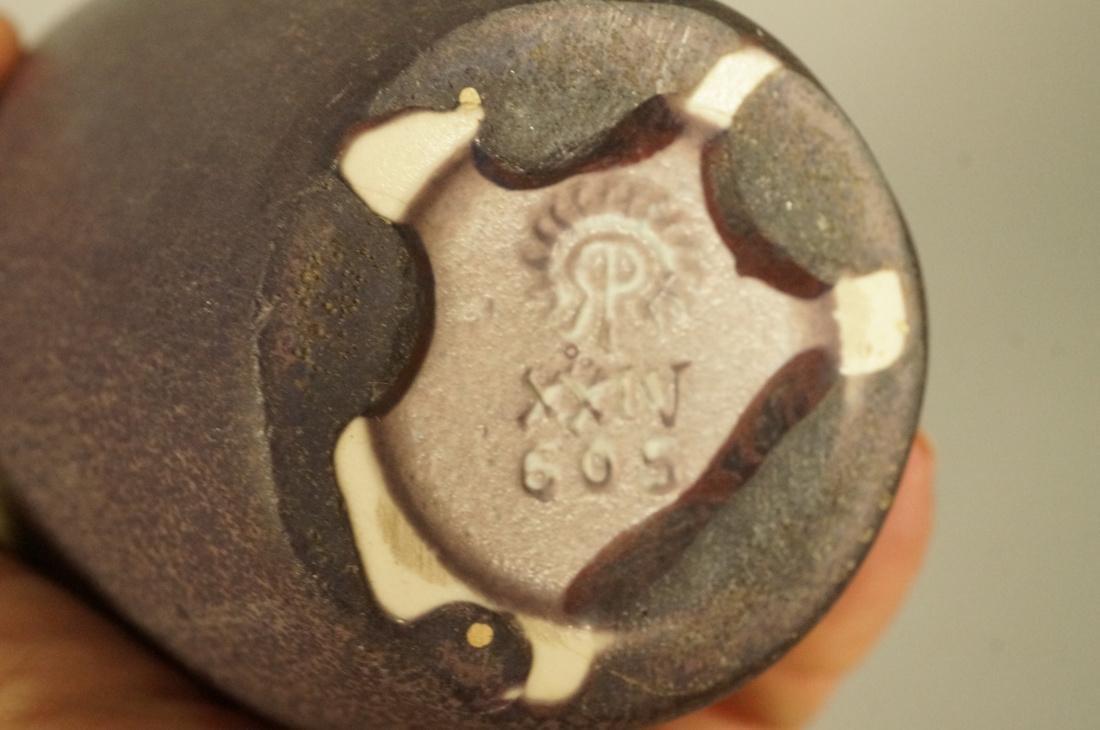 3pcs ROOKWOOD Pottery Vases. 1). Small blue glaze - 5