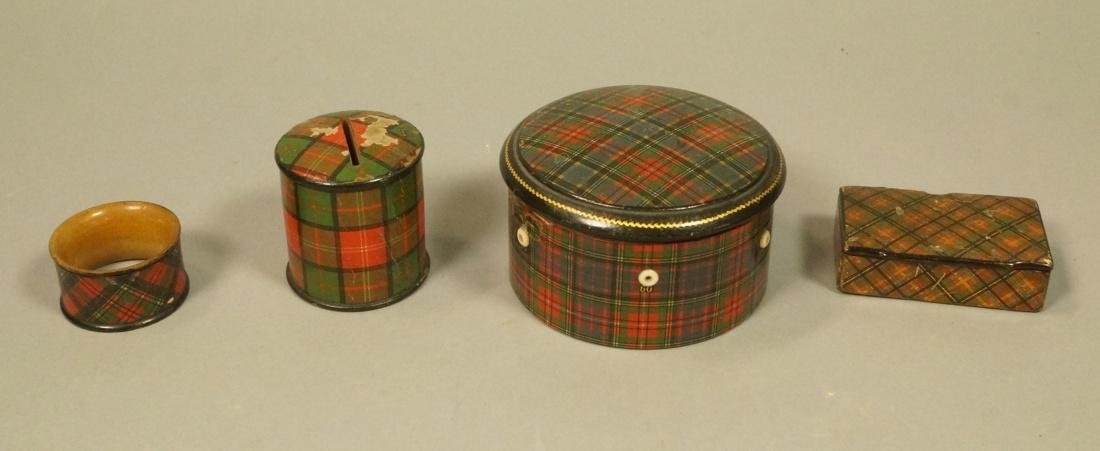 4pcs Tartanware. Scottish plaid wood boxes. 1) Ma