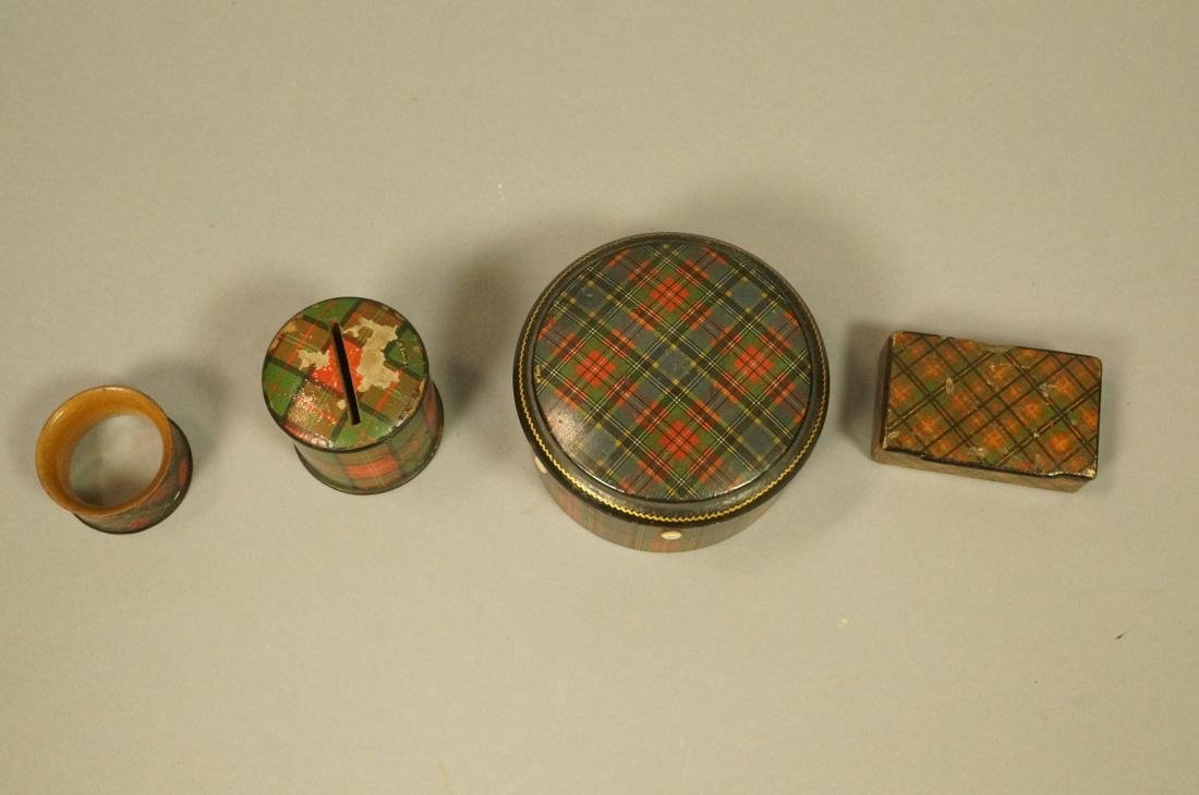 4pcs Tartanware. Scottish plaid wood boxes. 1) Ma - 2