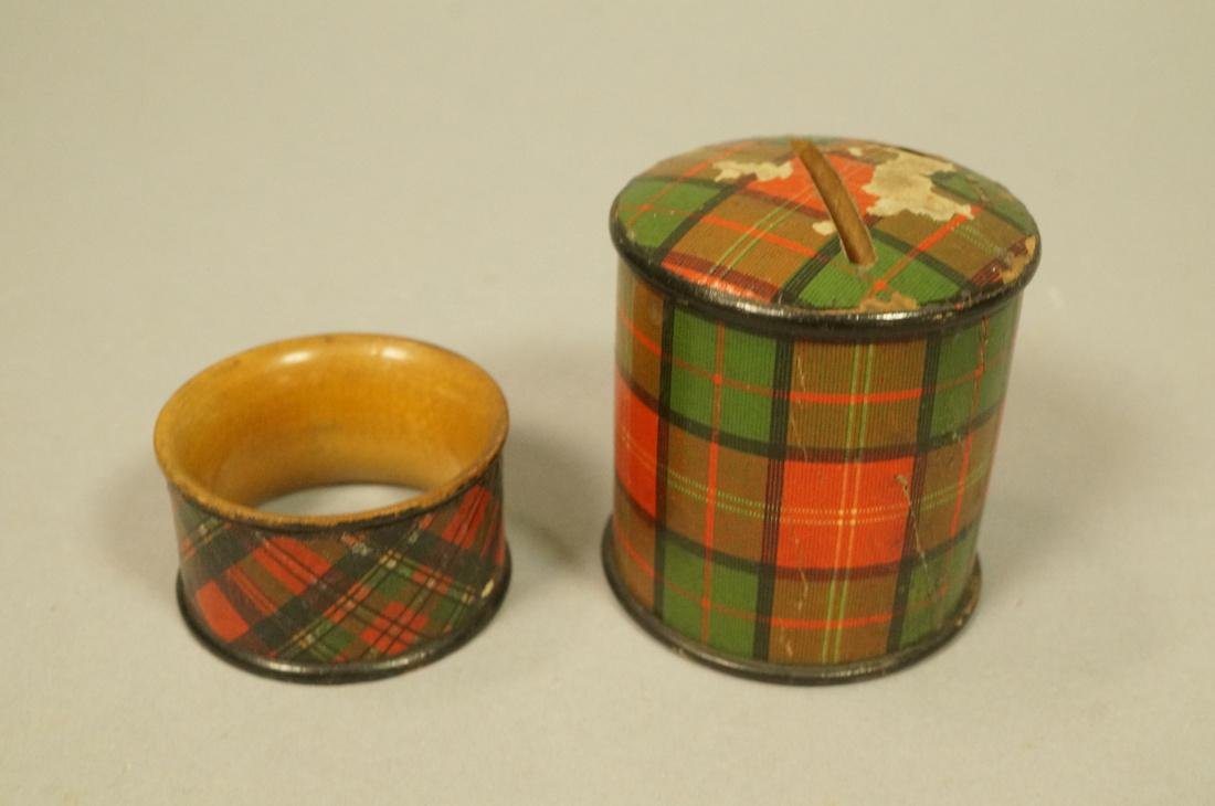 4pcs Tartanware. Scottish plaid wood boxes. 1) Ma - 5