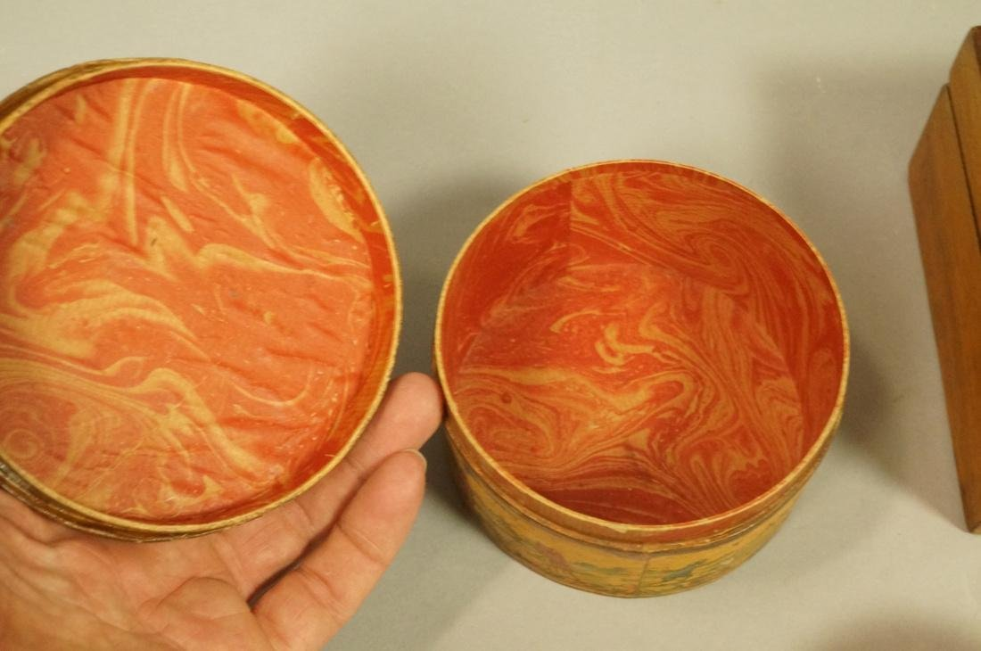 4pc Antique Wood Boxes. 1) Inlaid Hinged lid box. - 3