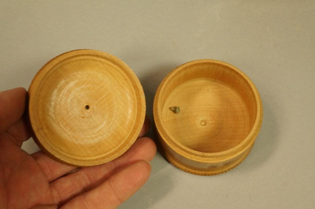 4pc Antique Wood Boxes. 1) Inlaid Hinged lid box. - 4