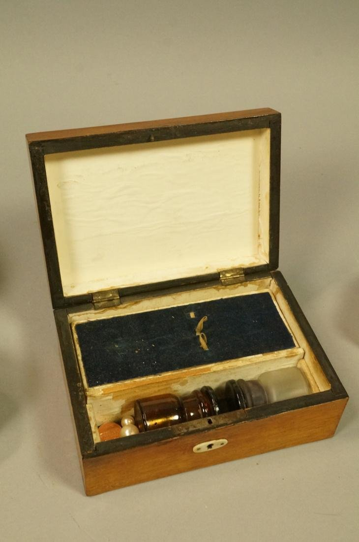 4pc Antique Wood Boxes. 1) Inlaid Hinged lid box. - 5