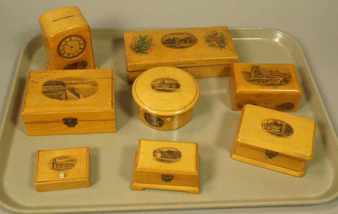 8pc Mauchlin Ware Boxes. One bank with clock face