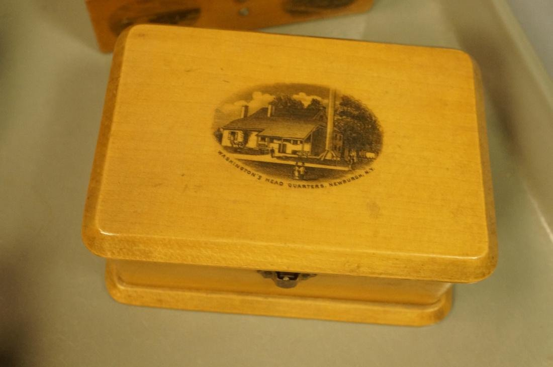 8pc Mauchlin Ware Boxes. One bank with clock face - 5