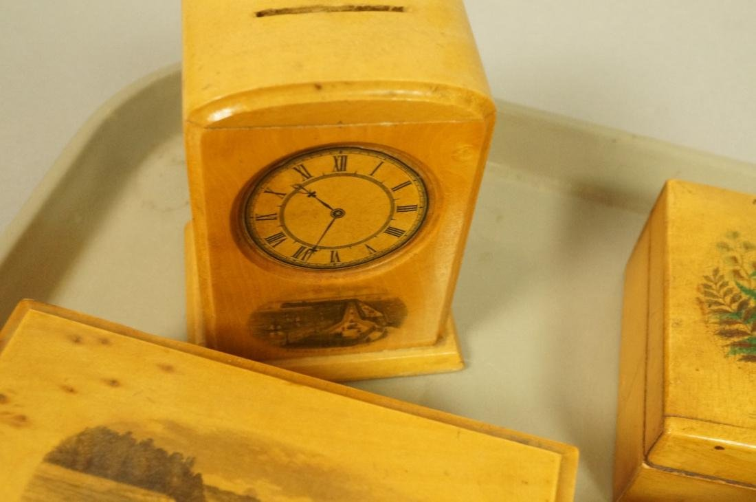 8pc Mauchlin Ware Boxes. One bank with clock face - 6
